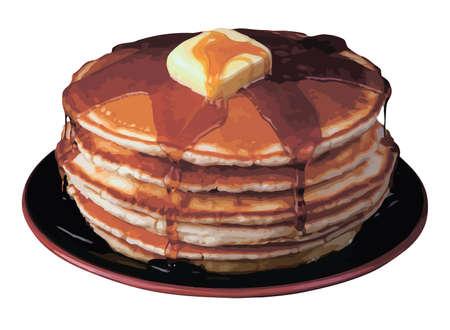 palatschinken: Vector Pfannkuchen auf der Platte auf wei�em Hintergrund. Illustration