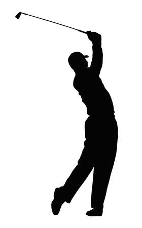 recreational sport: Silhouette of the golf player isolated on white background.