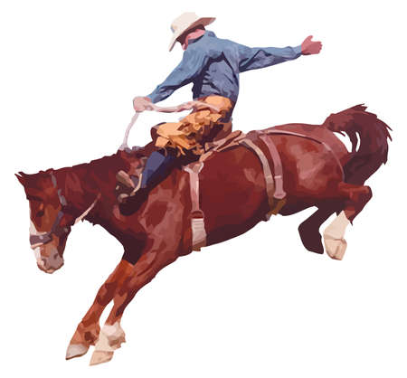 illustration of cowboy riding horse at rodeo