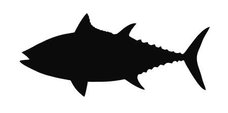HQ  silhouette of tuna isolated on white  Illustration