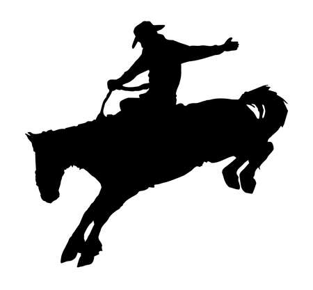 rancher: silhouette of cowboy riding horse at rodeo  Illustration