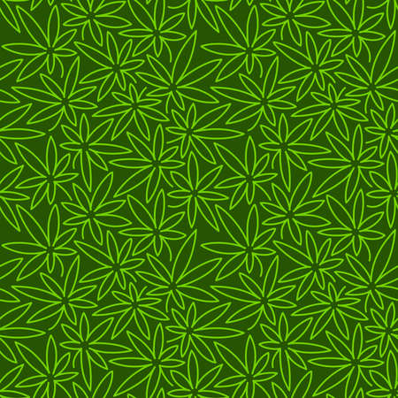 Seamless Green Pattern With Cannabis Leaves. Doodle Vector Illustration.