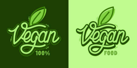 Word Vegan Text With Green Leaf Hand Written Vector Typography Illustration , Badge and Icon, Postcard, Card, Invitation, Flyer, Banner Template