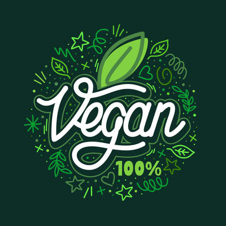 Word Vegan Text With Green Leaf Hand Written Vector Typography Illustration And Some Doodle Elements , Badge and Icon, Postcard, Card, Invitation, Flyer, Banner Template