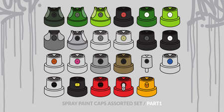 Graffiti Spray Caps Assorted Set. Isolated Vector Illustration