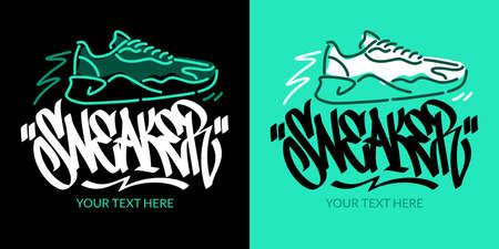 Hand Written Graffiti Style Word Sneaker Vector Illustration. Typography Illustration Illustration