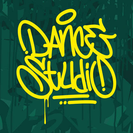 Abstract Dance Studio Graffiti Style Typography Vector Illustration