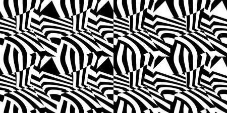 Dazzle Camouflage Black And White Seamless Abstract Pattern Vector Illustration