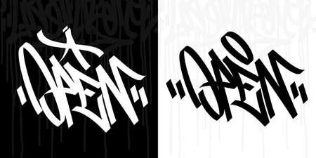 Word Open Abstract Hip Hop Hand Written Graffiti Style Vector Illustration