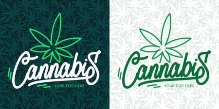 Abstract Hand Written Word Cannabis With Cannabis Leaf Vector Illustration