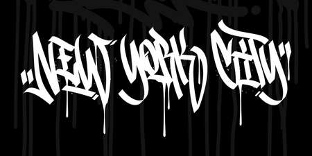 Word New York City Hip Hop Hand Written Graffiti Style Typography Vector Illustration Art Archivio Fotografico - 150059002
