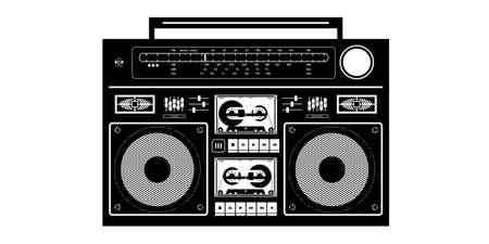 Detailed Black And White Ghetto Blaster Isolated Vector Illustration