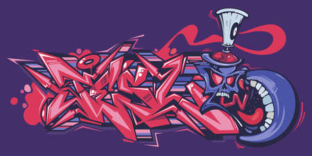 Abstract Word Lets Graffiti Style Font Lettering And Cartoon Spray Can Vector Illustration Art 向量圖像