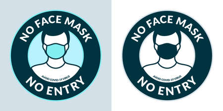 Caution No Face Mask No Entry Round Stickers Vector Illustration