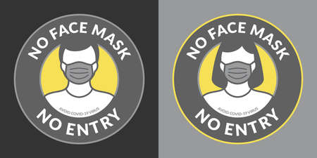Grey And Yellow Caution No Face Mask No Entry Round Stickers Vector Illustration