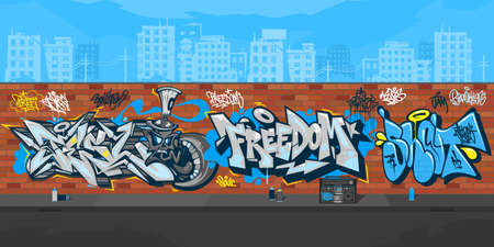 Colorful Streetart Graffiti Wall With Drawings Against The Background Of The Cityscape Vector Illustration