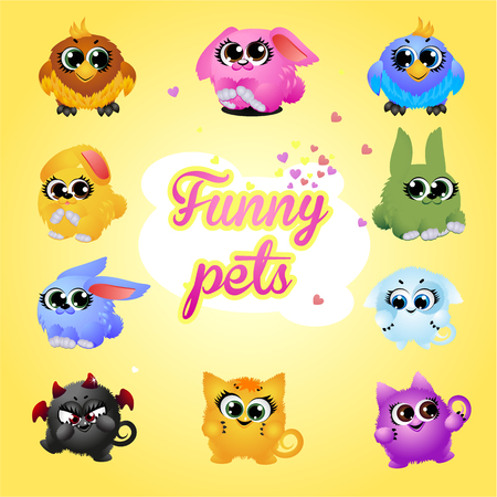 Funny pets icon set on a yellow background
