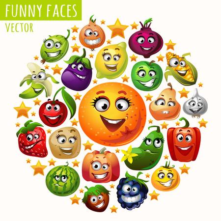 owoców: Okrąg z owoców i warzyw śmieszne miny