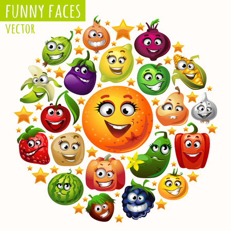 fruit illustration: The circle of fruits and vegetables funny faces