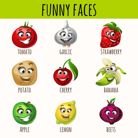 fruitage: Set of expressive vegetables and fruits