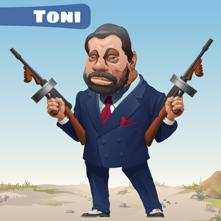 ruffian: Fictional cartoon character - bandit Toni Illustration