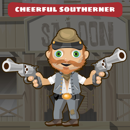 cowboy cartoon: Cartoon character of Wild West - cheerful southerner
