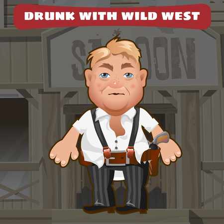 drunkard: Cartoon character of Wild West - drunk man