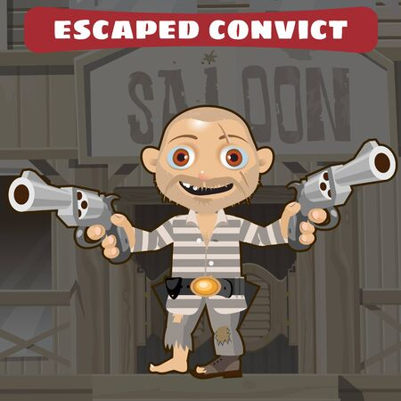 barefoot cowboy: Cartoon character of Wild West - escaped convict Illustration