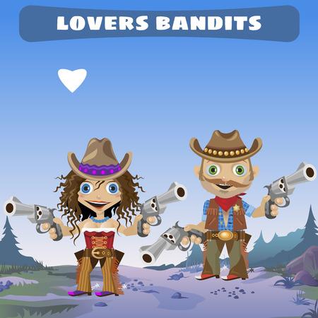 enamorados caricatura: Personaje de dibujos animados de ficci�n - amantes bandidos