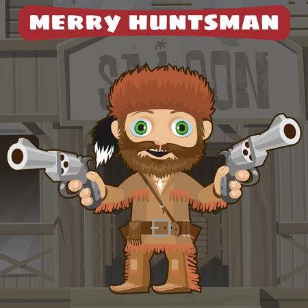 pathfinder: Cartoon character of Wild West - merry huntsman