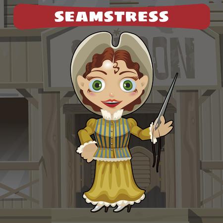 costurera: Cartoon character of Wild West - seamstress Vectores
