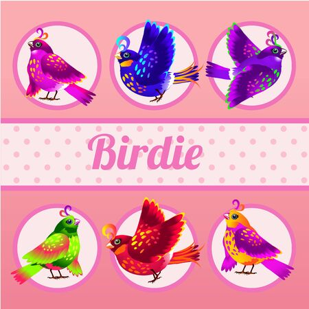 fledgeling: Set of six colorful birds on a pink background Illustration