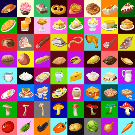 Great set of various food, 64 objects