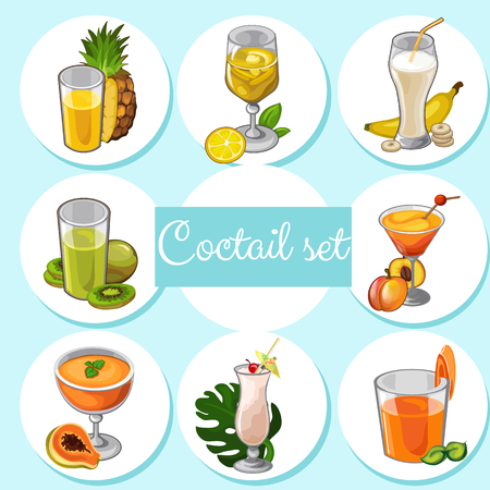 softdrink: Set of different cocktails with fruits Illustration