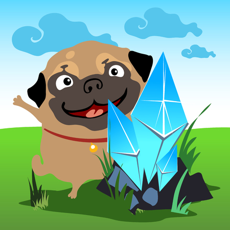 Pug with a blue crystal in the natural landscape Illustration