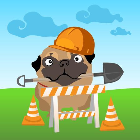 road works: Dog builder on nature landscape background Illustration