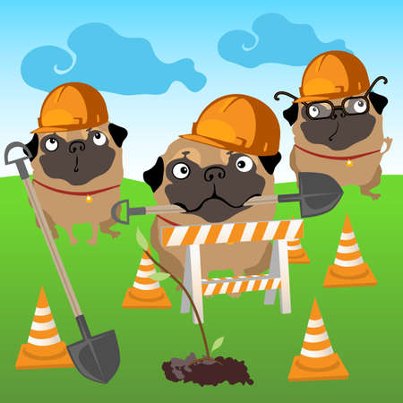 Three dogs builders plant a tree on natural background 일러스트