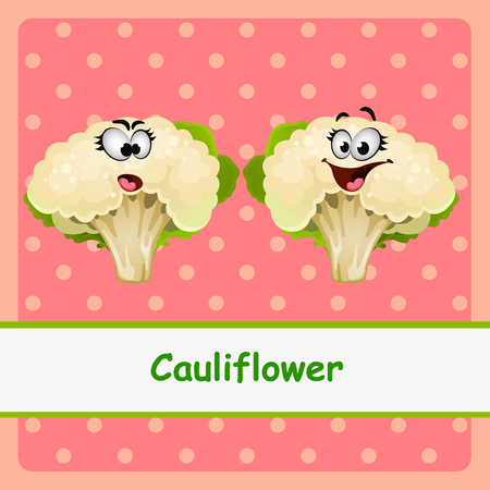 brassica: Cauliflower, two funny characters on pink background