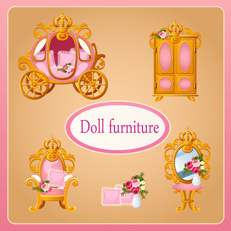 corona de princesa: Muebles de mu�ecas Real para la sala de la Princesa Vectores