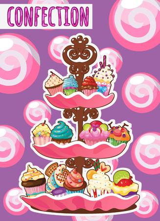 jellybean: Three-storey dish of different cakes