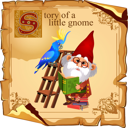 gnome: Cute gnome with parrot reading a book Illustration