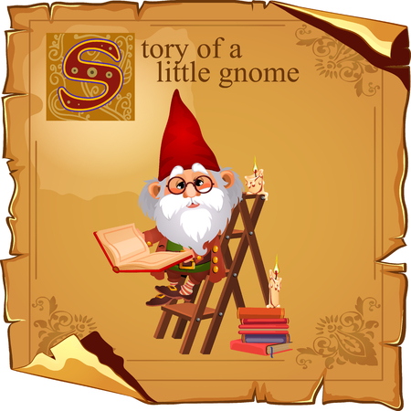 Wise gnome with book and candles