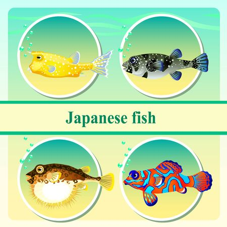 rarity: Set of four japanese sea fish Illustration