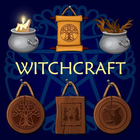 witchcraft: Witchcraft set: old mystic symbols on a dark background