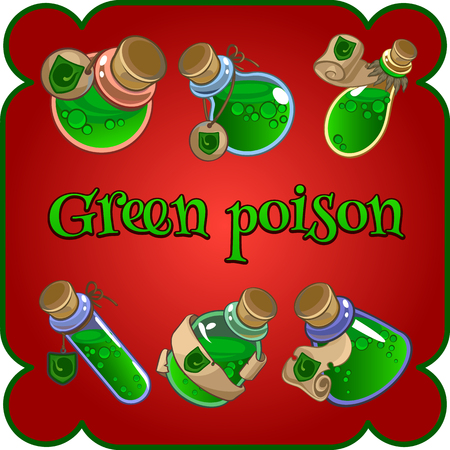 a substance vial: Cartoon set of six bottles with green poison Illustration
