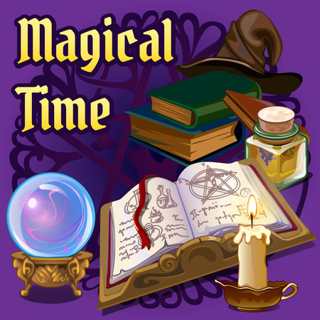 Open magic book and set of fairy tale elements on a dark blue background