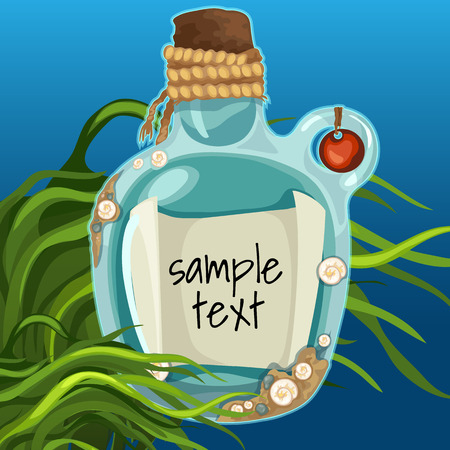 sea grass: Bottle at the bottom with note among algae. On the note there is a space for text