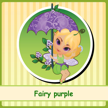 pixy: Fairy purple - cute girl illustration closeup. You can use it as icon or a card with space for text