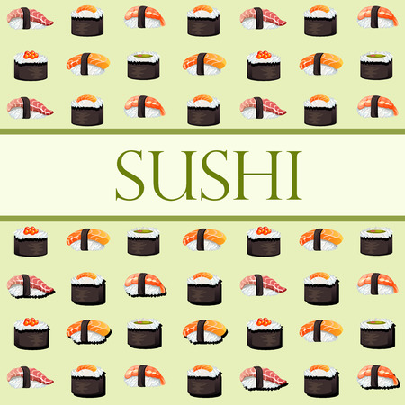 other space: Sushi and rolls template with space for text for your design needs - background for website, menu, card and other