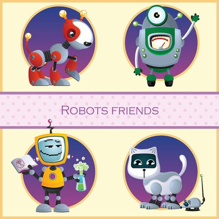 robot hand: Robots friend, four cartoon character Illustration